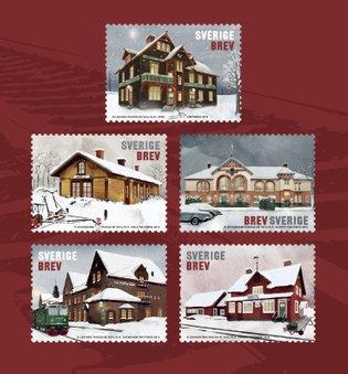 Nya frimärken släpps inför årets Frimärkets dag på temat Stationshus samt Julpynt
